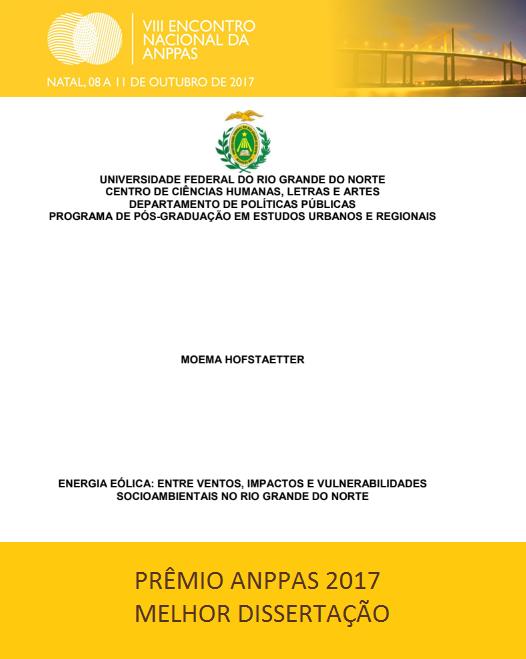 Prêmio De Melhor Dissertação Da Discente Moema Hofstaetter – Prêmio Anppas 2017