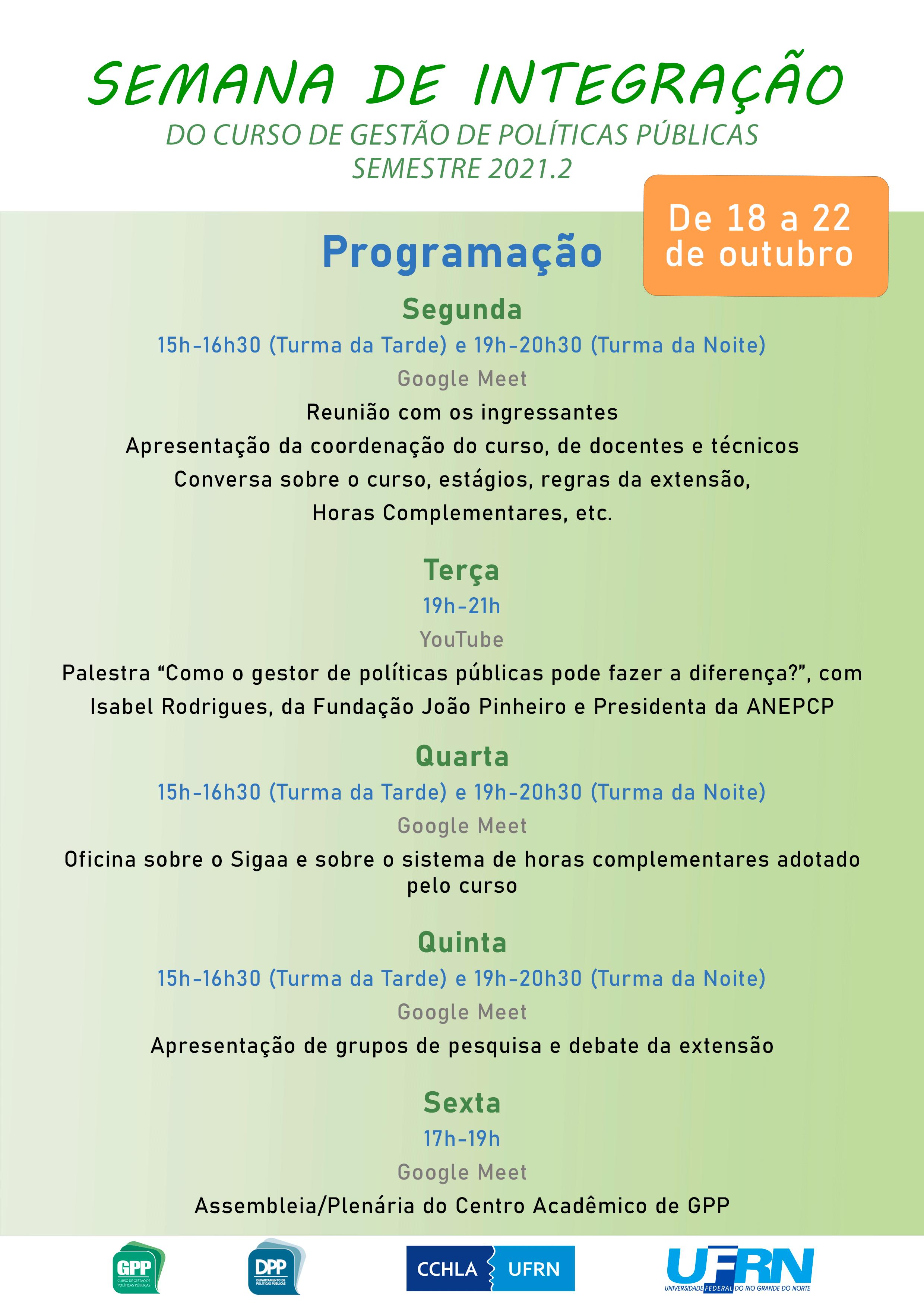 Semana De Integração Do Curso De Gestão De Políticas Públicas – 2021.2